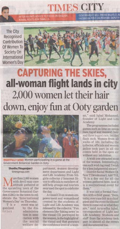 Womens day celebration in  Ooty