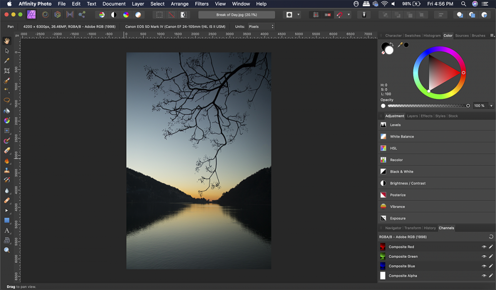 Goodbye monotone-y! Affinity Photo has a colorful and vibrant interface.